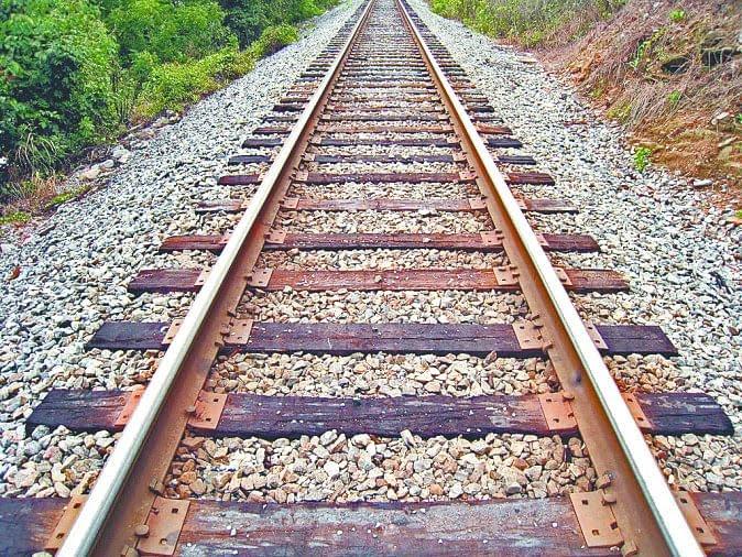 Train tracks in rural area.