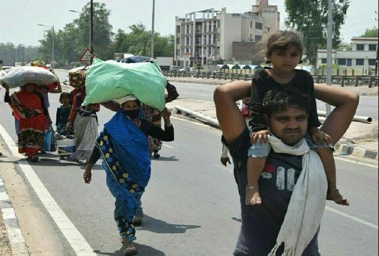 घर पहुंचने के लिए निकले प्रवासी मजदूर